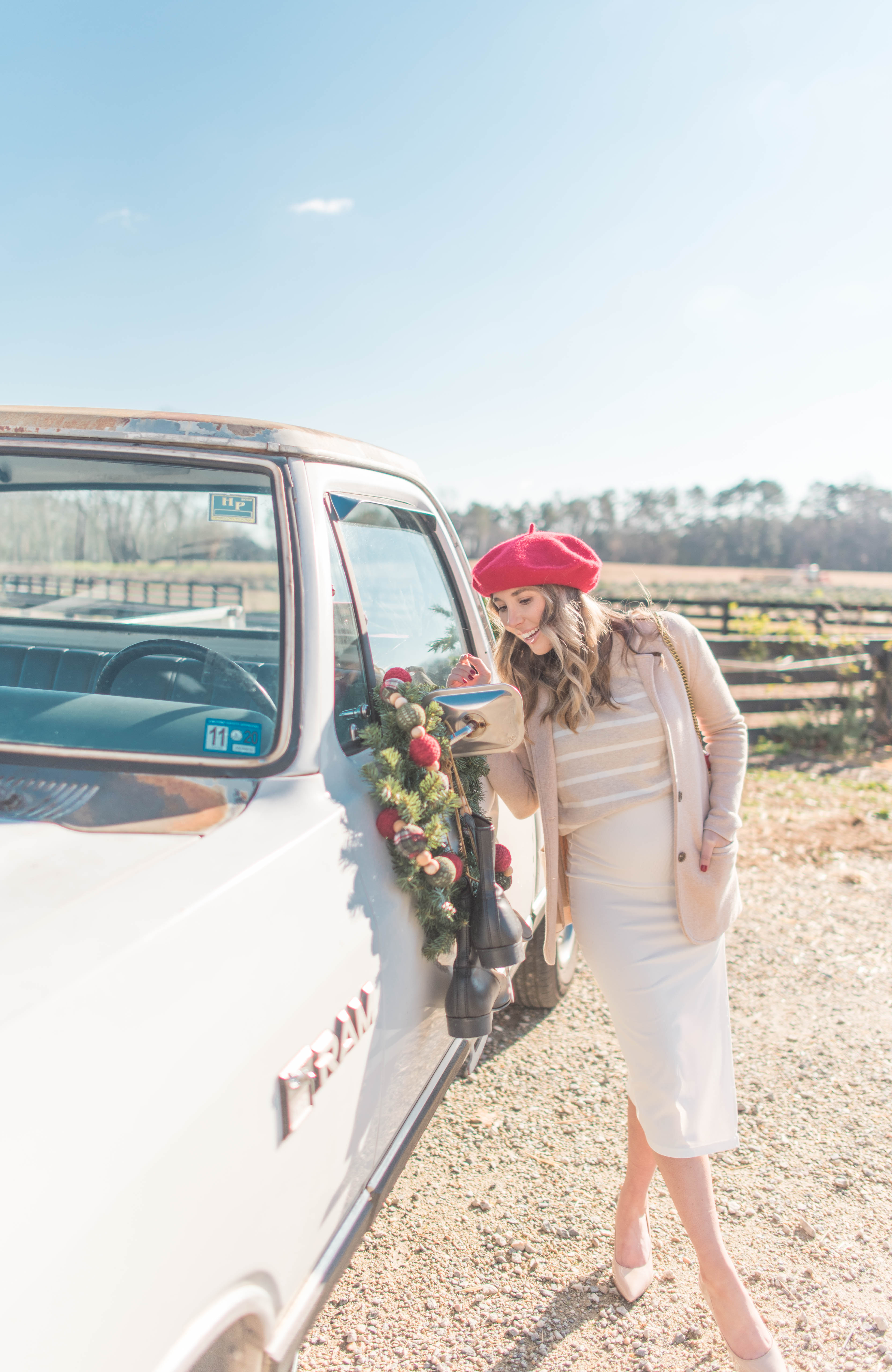 Anna Red Beret Christmas Truck Sweethaven Lavender Farm