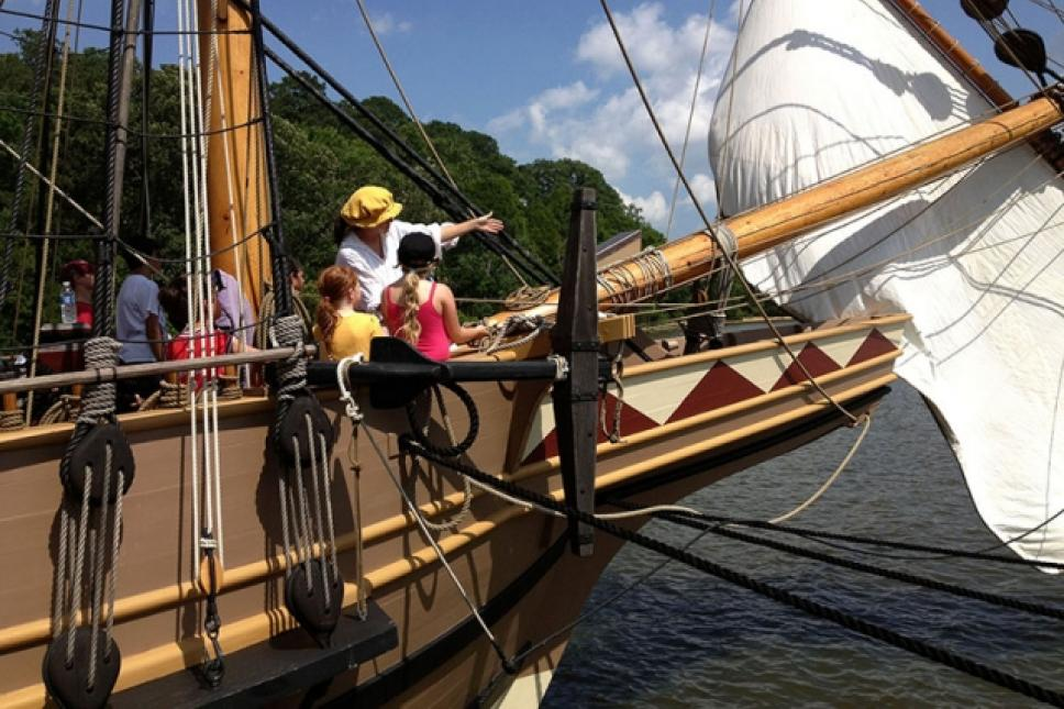 Sail handling aboard Jamestown Settlement's Godspeed.