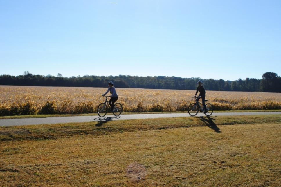 biking the Virginia Capital Trail in Williamsburg, VA