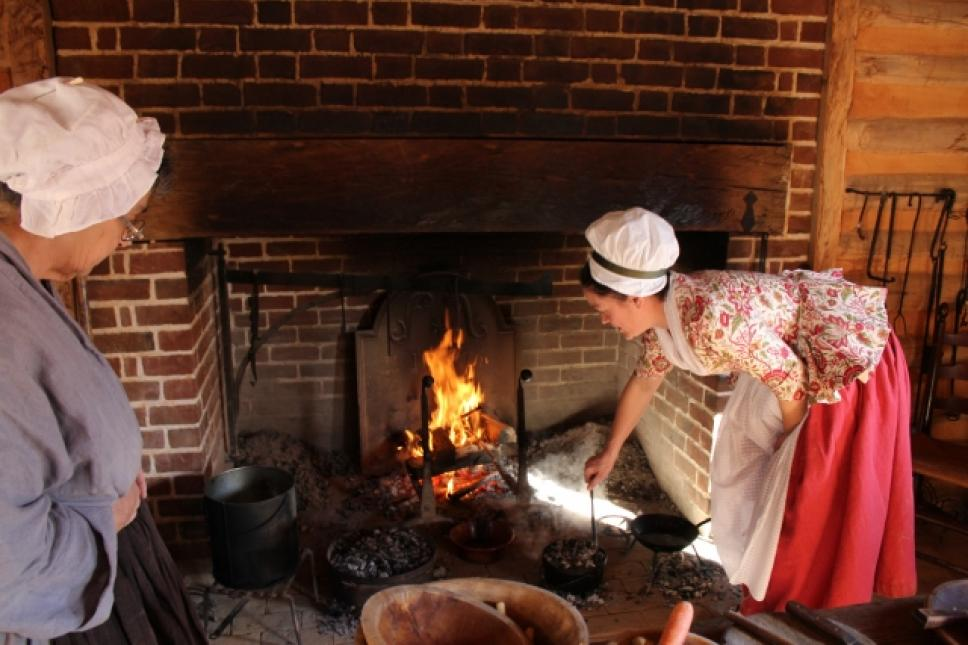 Open-hearth cooking at the American Revolution Museum at Yorktown.