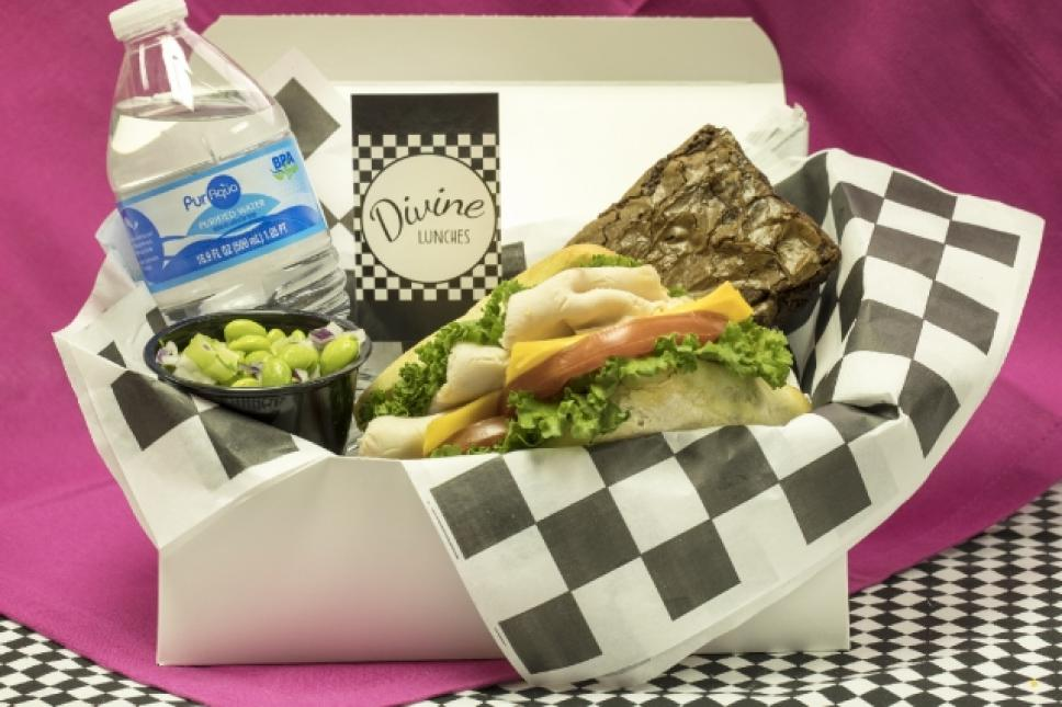 Boxed lunches include sandwich, side dish, dessert and water!