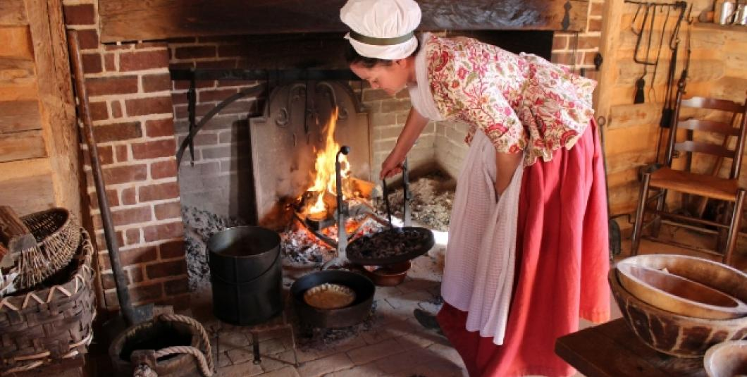 Cooking over an open hearth at the American Revolution Museum at Yorktown.