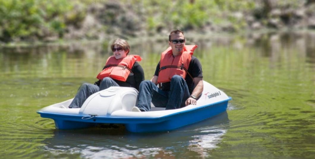 Paddle boating on Lake Maury at The Mariners' Museum and Park in Newport News, VA