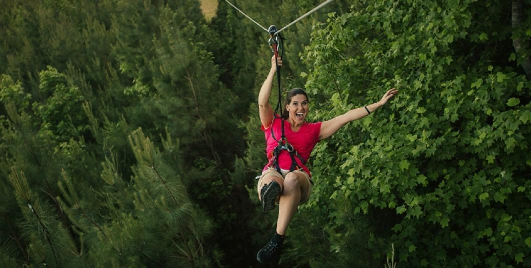 Zip line at Go Ape Treetop Adventure in Williamsburg.
