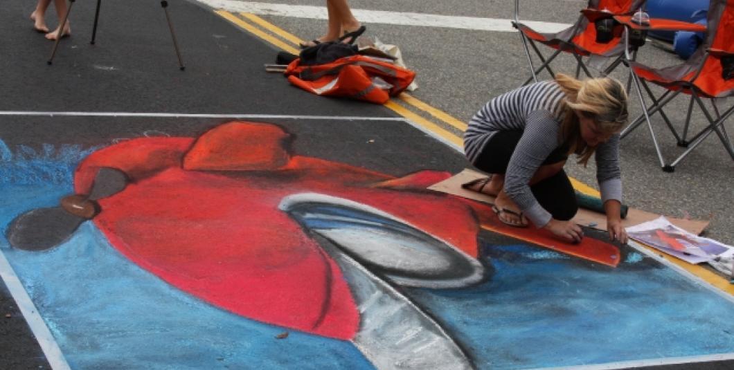 Amazing chalk art lead by Chalk Art Professional Holland Winslow