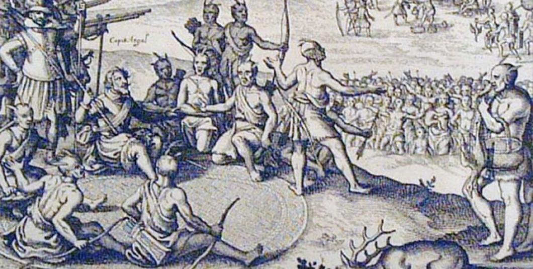 A trading scene is depicted in a 17th-century engraving by Theodor de Bry. Jamestown-Yorktown Foundation collection.