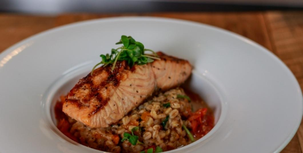 Atlantic Salmon with Butternut Squash Fasrro Risotto, Dinner Entree