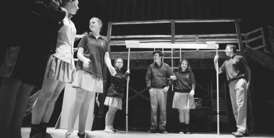 Walsingham Academy students rehearsing for an upcoming theater performance.