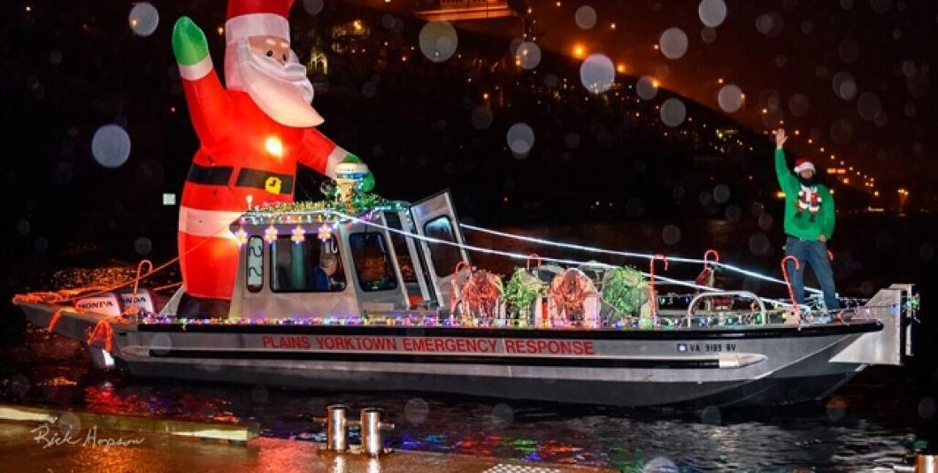 Santa rides in a boat too!