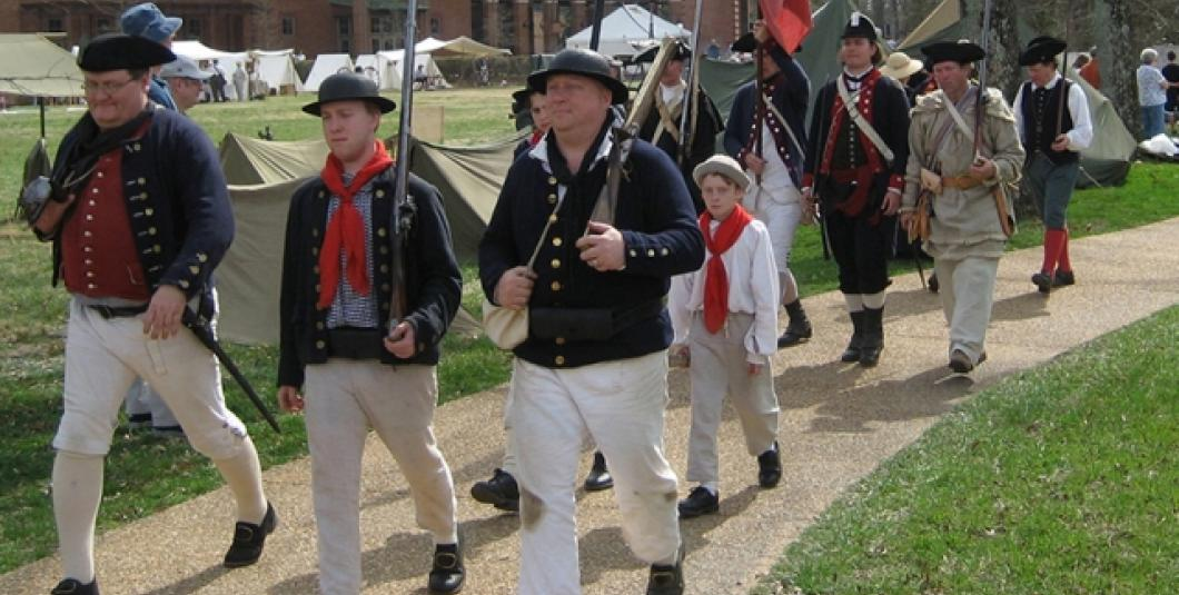 "Re-enactors spanning the centuries fall in line for Jamestown Settlement's ""Military Through the Ages,"" March 15-15, 2014."