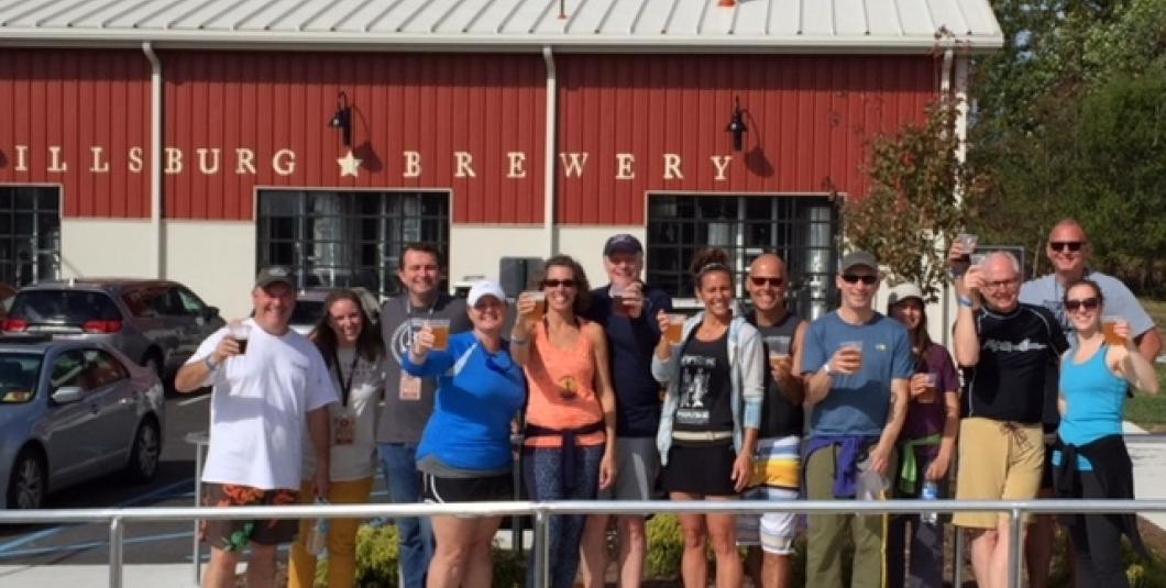 Enjoying a Billsburg Brewery after our Paddle 4 Pints