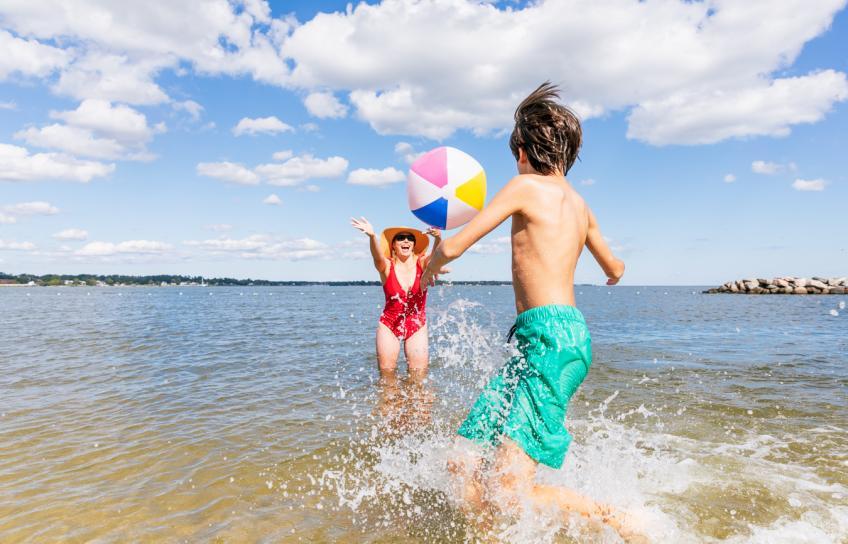 Mom and Son Have Fun Yorktown Beach