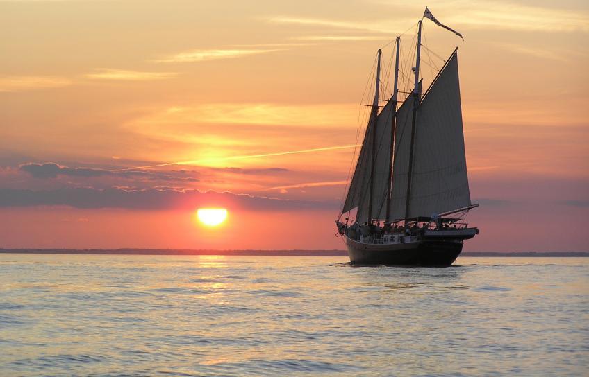 Schooner Alliance at sunset