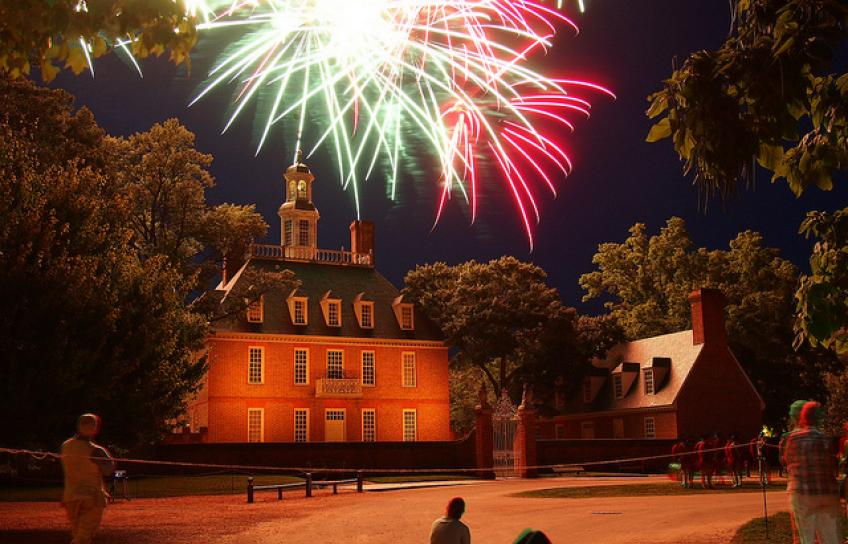 Fireworks over Colonial Williamsburg