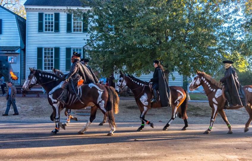 Horses Dressed Up as Skeletons Colonial Williamsburg