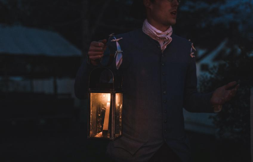 Haunted Williamsburg Ghost Tour Man Holds Lantern
