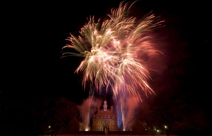 Fireworks over the Governor's Palace at Colonial Williamsburg