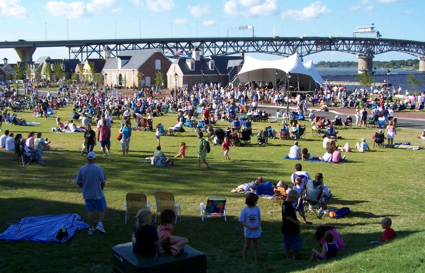 A concert at Riverwalk Landing in Yorktown