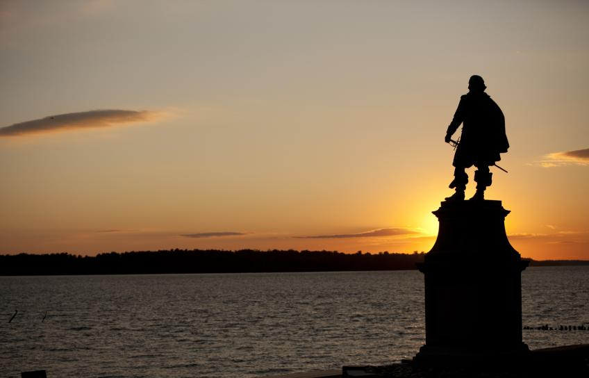 Statue at sunset at Historic Jamestowne