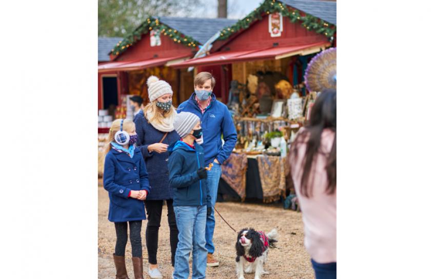Family Wearing Masks at Williamsburg Christmas Market
