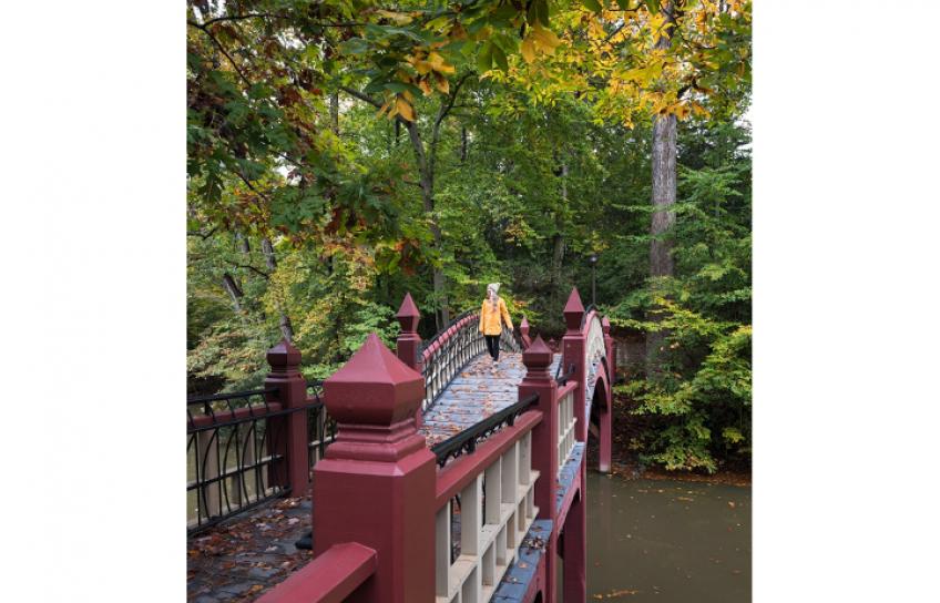 Woman in Yellow Jacket on Crim Dell Bridge