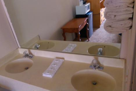 Double Sink with Large Vanity Mirror and Dressing Area
