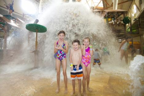 The tipping bucket dumps 1,000 gallons of water every four minutes in the indoor water park