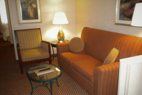 King Suite Living Room at Hilton Garden inn Williamsburg