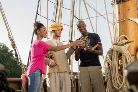 Jamestown Settlement visitors learn about 17th-century navigation tools.