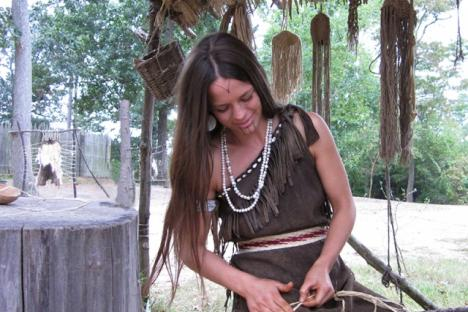 Making rope at Jamestown Settlement's Powhatan Indian village.