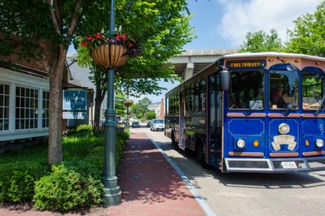 Enjoy a ride on the free Yorktown Trolley which offers several stops throughout Historic Yorktown