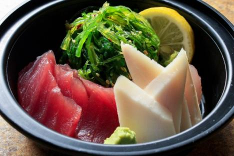 Japanese Restaurant Umi Sushi serves sake, beer, plum wine, sushi, salads, and the signature Korean dish Bibimbap.