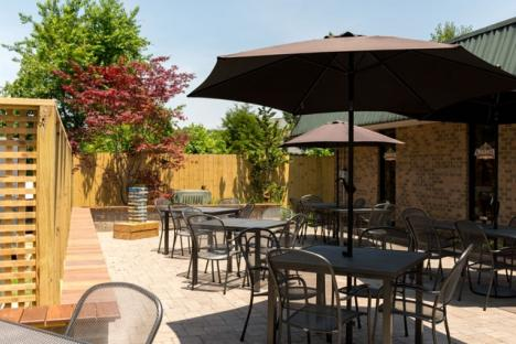 Enjoy a cold beer in our outside Biergarten