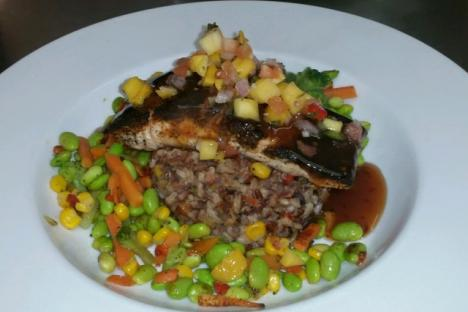 Wild rice and Salmon! Topped with Mango Salsa!!!