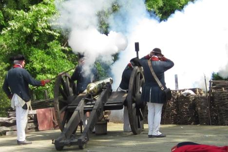Artillery firings salute the 236th anniversary of the Siege of Yorktown.
