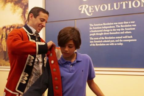 Try on Revolutionary War uniforms at the Yorktown Victory Center.