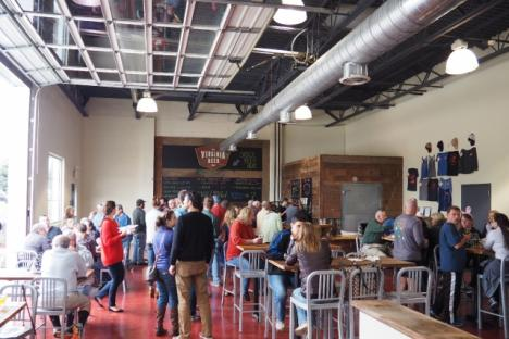Virginia Beer Co.'s taproom in action