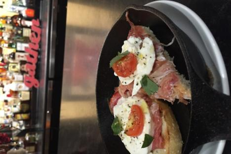 Surry Ham and Burrata Cheese on a locally made toasted baguette