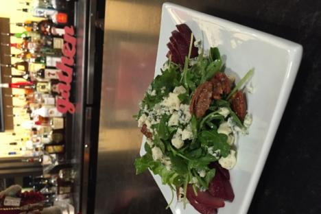 Poached pears with moody blue cheese, candied pecans, lavender honey and petite arugula