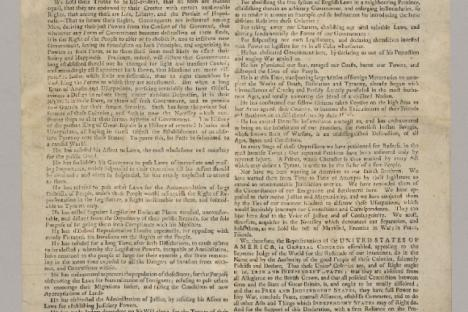 July 1776 Broadside of the Declaration of Independence. Jamestown-Yorktown Foundation collection.