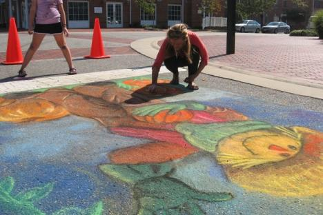 """Professional Chalk Artist Holly Winslow will lead kids in an """"Imagine Your Playground"""" chalk event."""