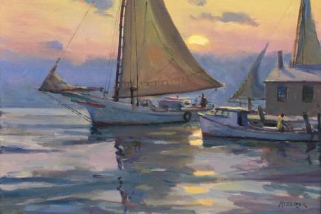 Leonard Mizerek - 'Skipjack Setting Out', oil