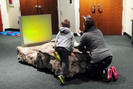 Through multimedia displays visitors learn about wolves and dogs.