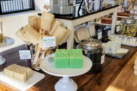Local Artisan Soaps with tons of Bath Accessories can be found at Perfectly Natural Soap