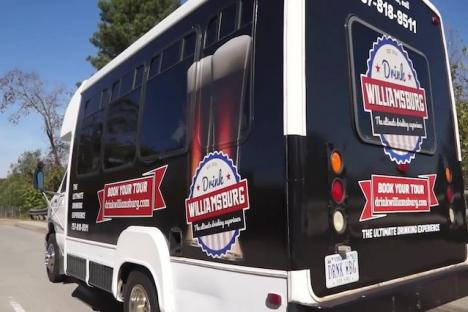 Take a ride on the one and only Drink Williamsburg Bus!
