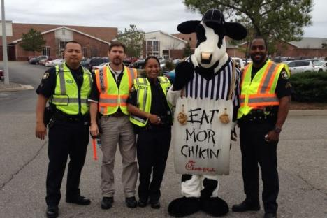 Here at Chick-fil-A Mooretown Road, community is very important to us. We look forward to opportunities that allow us to enrich the lives of those around us, such as this Click-it-for-Chicken event at a local high school.