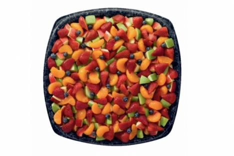 Meet the CFA Fruit Tray! Not only is it beautiful, but it is also a great-tasting and nutritious fruit mix made with mandarin orange segments, fresh strawberries, blueberries and red and green apple pieces, served chilled, in a choice of two sizes.