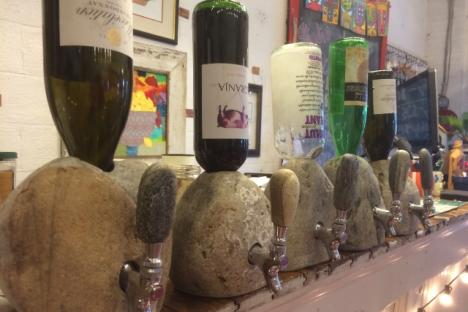 Wine from a rock is an awfully creative way to serve your guests ...